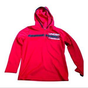 Boys Under Armour red black heatgear hoodie
